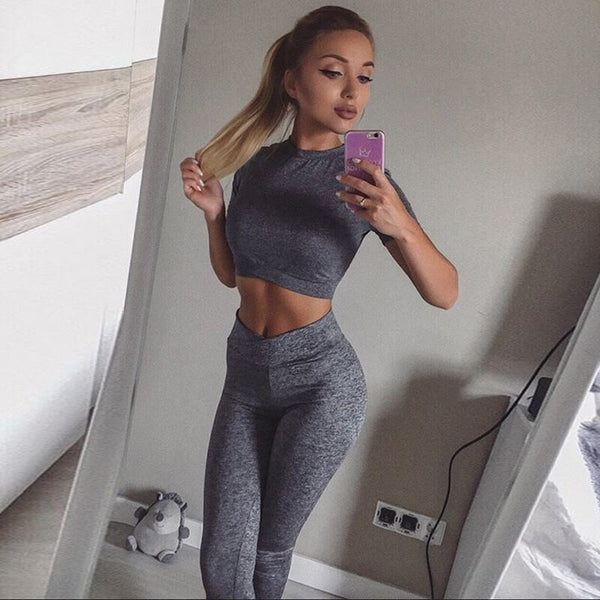 Sexy Gray Short Sleeve High Waist Bodycon Skinny Pant Sets
