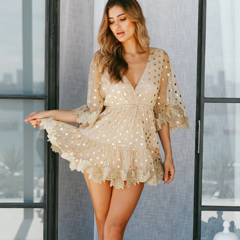 Sequins Deep V-neck High Waist Short Women Dress
