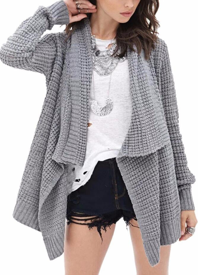 Leisure Hollow-Out Irregular Ladies Knitted Cardigan - Oh Yours Fashion - 1