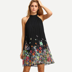 Sleeveless Halter Pleated Loose Dress - Oh Yours Fashion - 1