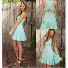 Chiffon Open Back Cross Sleeveless V-neck Knee-length Dress - Oh Yours Fashion - 1
