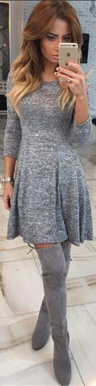 Fashion Gray A-Line Pleated Long Sleeve Short Dress - Oh Yours Fashion - 2