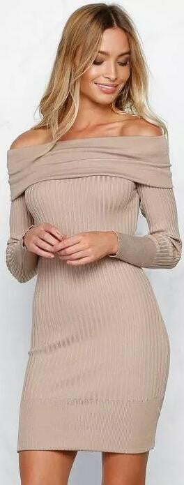 Off Shoulder Bodycon Knitting Sweater Dress - Oh Yours Fashion - 2