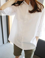 Turn-down Collar Lace Hollow Out Long Sleeves Casual Blouse - Oh Yours Fashion - 1