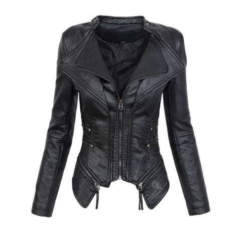 Slim Lapel Women Irregular Motorcycle PU Jacket