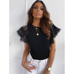 Lace Short Sleeves Pure Color T-shirt
