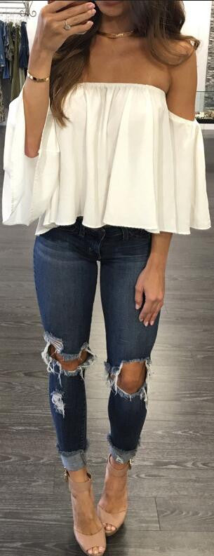 Sexy Off Shoulder Long Sleeve Chiffon Loose Blouse - Oh Yours Fashion - 2