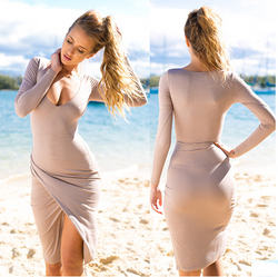 Low-cut Bodycon Irregular Pure Color Sexy Dress - Oh Yours Fashion - 1
