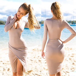 Low-cut Bodycon Irregular Pure Color Sexy Dress