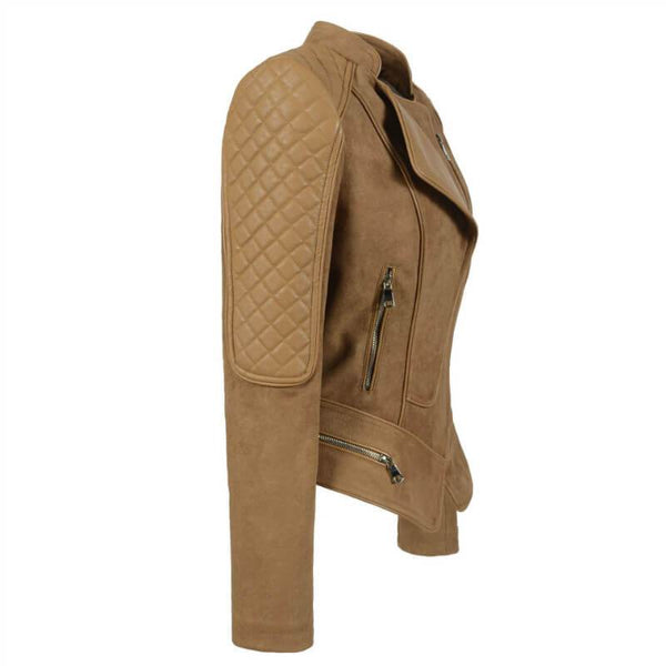 Camel Leather Moto Jacket