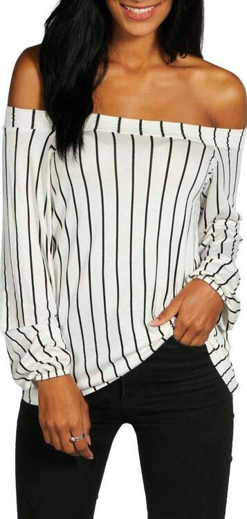 Sexy Off Shoulder Long Sleeve Stripe White Blouse - Oh Yours Fashion - 1