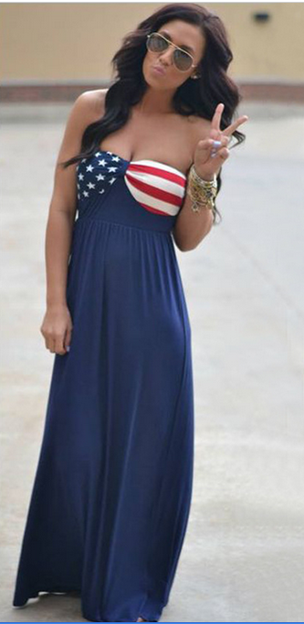 Strapless American Flag Print Long Dress - Oh Yours Fashion - 2