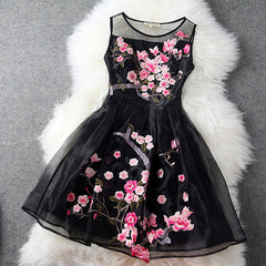 Charming Flower Embroidery Short Skater Dress - Oh Yours Fashion - 1