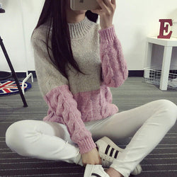 Cable Knit Colorblock Chunky Sweater