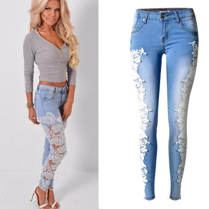 Lace Patchwork Hollow Low Waist Straight Hot Jeans - Meet Yours Fashion - 1