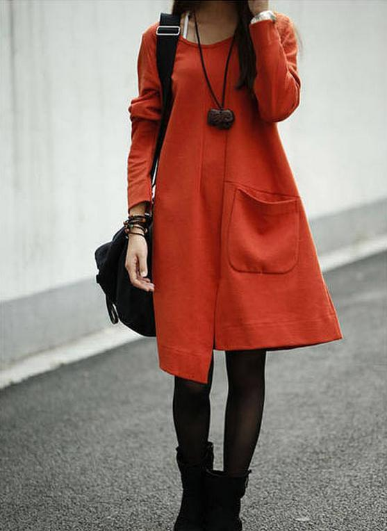 Irregular Big Pocket Scoop Long Sleeves Knee-length Sweatdress - Meet Yours Fashion - 4