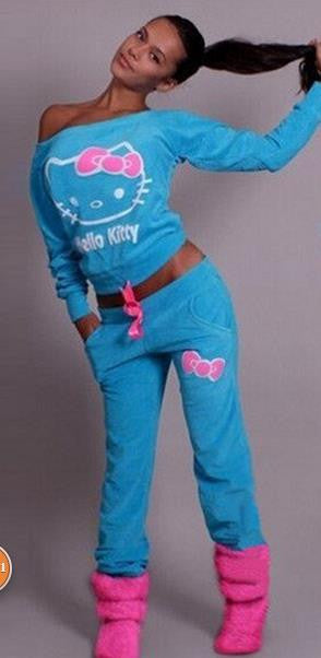 Hello Kitty Print T-shirt Pants Activewear Two Pieces Sports Suit - Oh Yours Fashion - 2