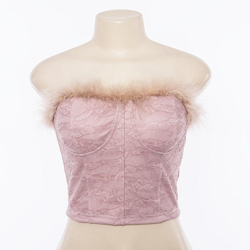 Strapless Pure Color Faux Fur Lace Sleeveless Short Crop Top