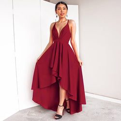 Deep V-neck Spaghetti Straps High Waist Pleated Irregular Women Party Dress