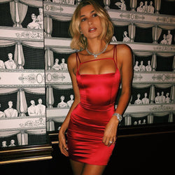 Spaghetti Straps Solid Color Women Bodycon Short Dress