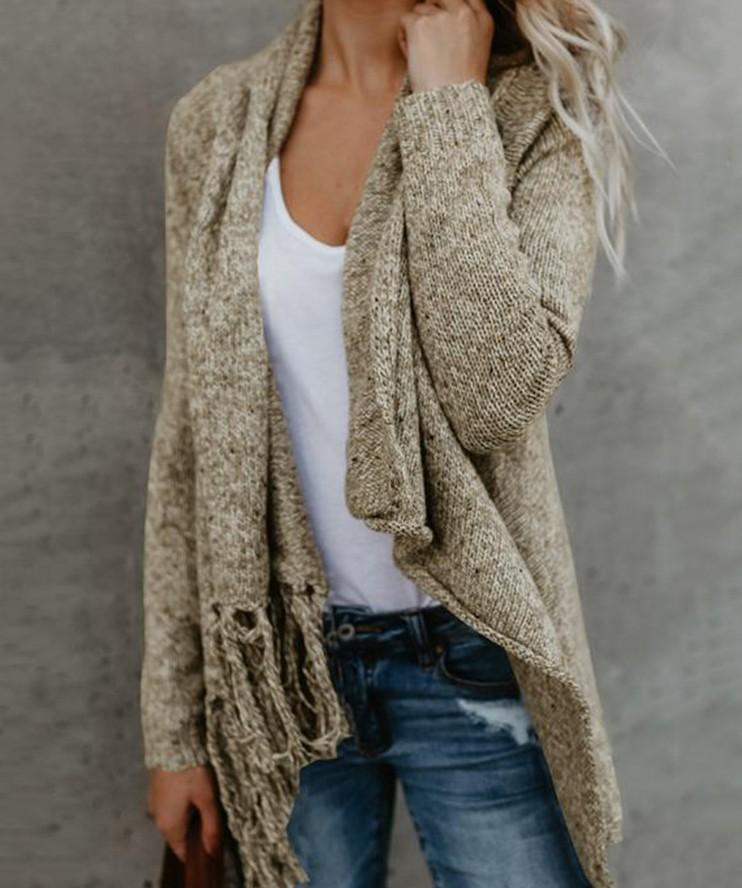 Tassels Wrapped Women Oversized Long Cardigans