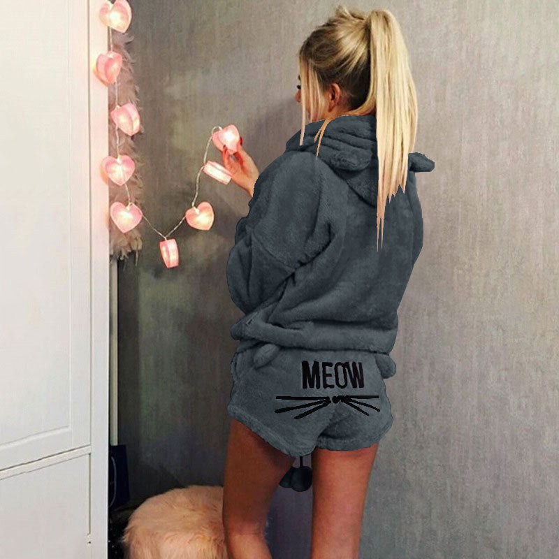 Cute Cat Print Candy Color Loverly Hooded with Shorts Women Fluffy Pajama Sets