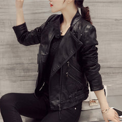Black Oblique Zipper Slim Stand Collar Crop Jacket - Oh Yours Fashion - 1