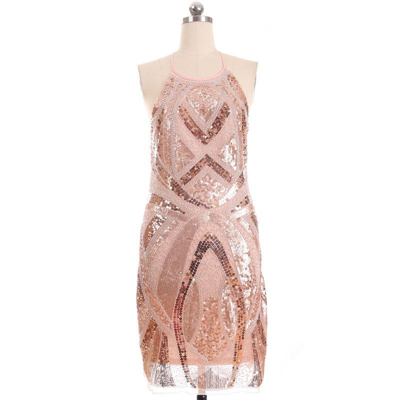 Stylish Atmosphere Beaded Sequined Dress - MeetYoursFashion - 1