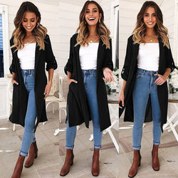 Oversized Candy Color Side Split Women Trench Coat