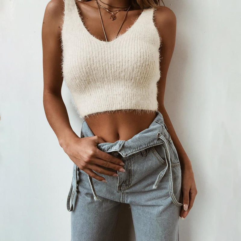 V-neck Hippocampus Hairy Sleeveless Women Vest Crop Top Sweater