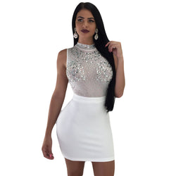 Beadings Transparent Mesh Patchwork Women Bodycon Short Dress