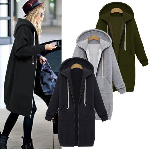 Pure Color Zipper Drawstring Pockets Women Oversized Hooded Coat