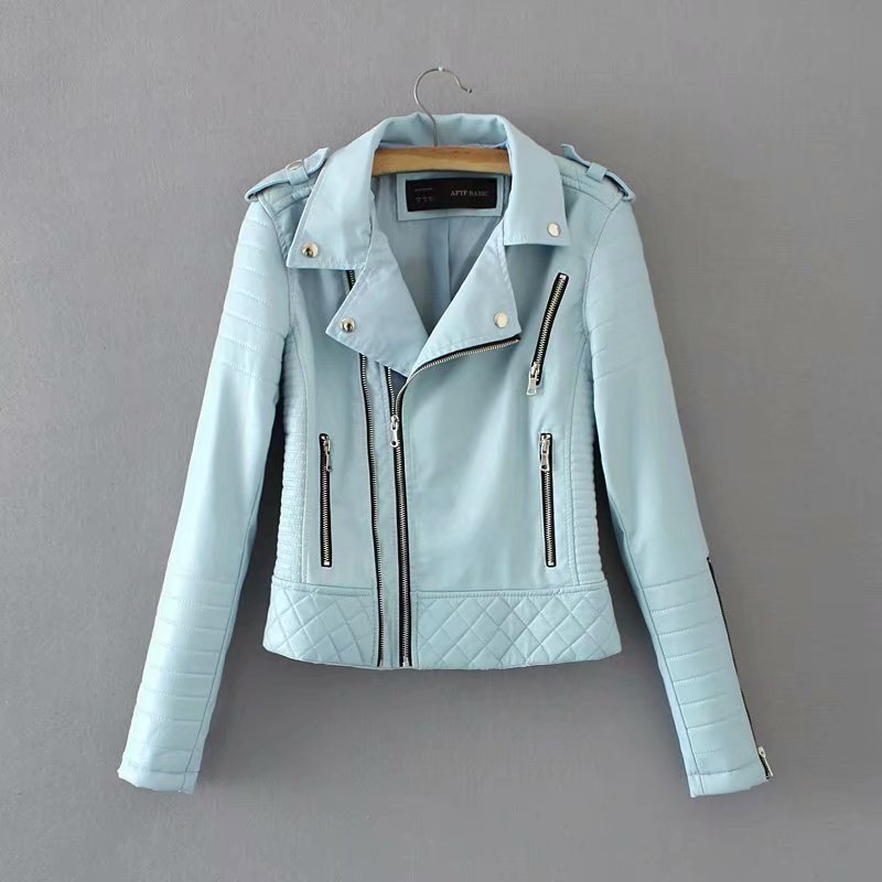 Pure Color Zippers Women Slim Short Jacket