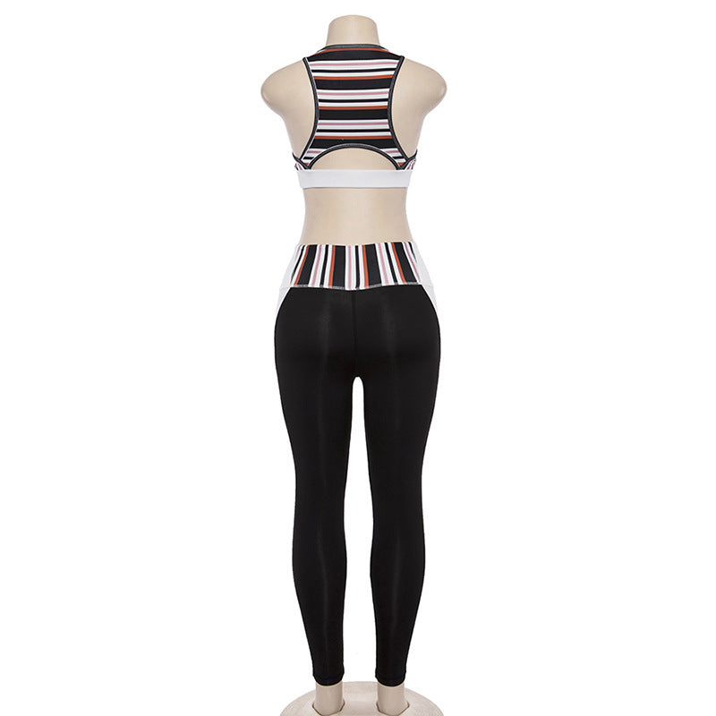 Stripe Crop Top with High Waist Patchwork Pants Women Two Pieces Set