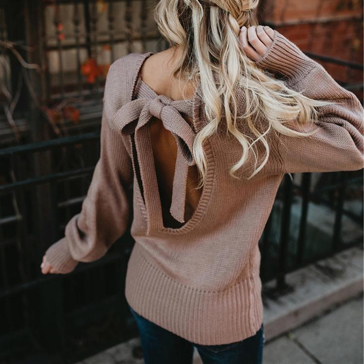 Open Back Straps Bowknot Long Lantern Sleeves Women Pullover Sweater