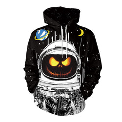 Print Drawstring Women Halloween Digital Hoodie