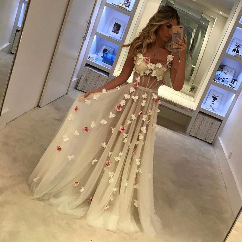 Transparent Flowers Applique Spaghetti Straps Women Long Party Bridesmaid Dress