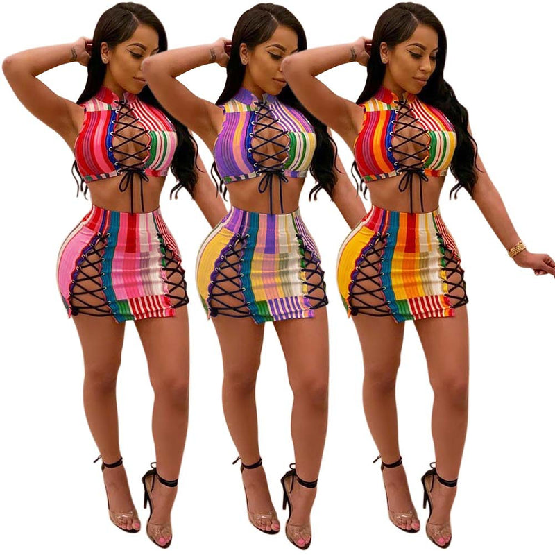Sexy Straps Hollow Out Stripe Crop Top with High Waist Short Skirt Women Two Pieces Set