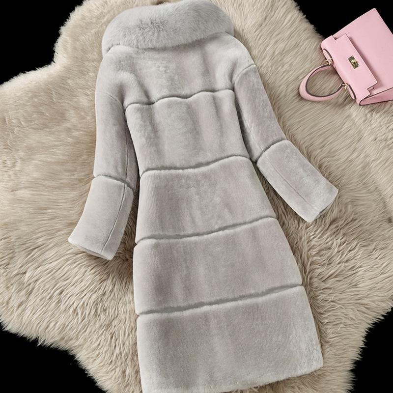 Faux Fur Collar Solid Color Warm Patchwork Oversized Women Teddy Coat