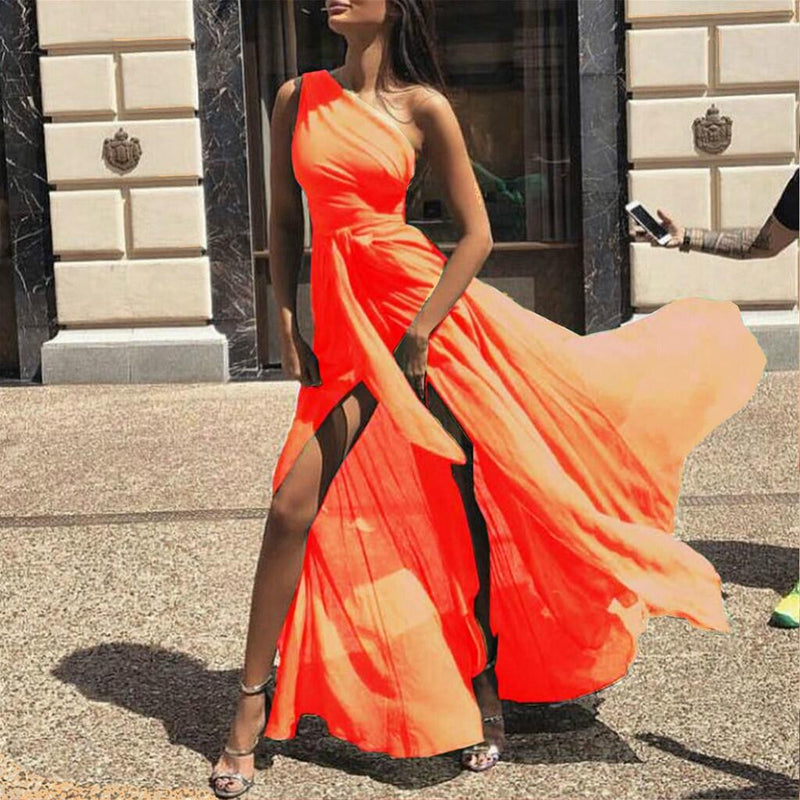 One Shoulder High Waist Bright Color Split Women Chiffon Long Dress