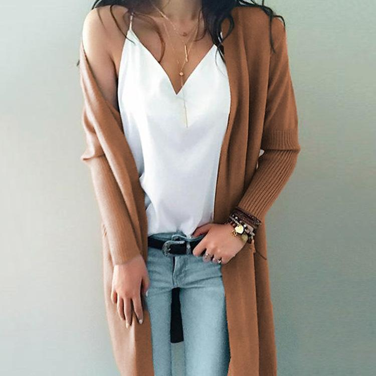 Solid Color Loose Pockets Long Women Cardigan Sweater