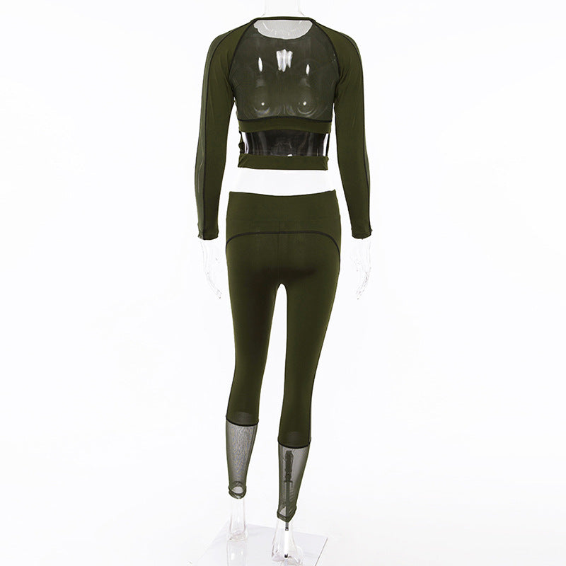 Mesh Patchwork Crop Top with High Waist Leggings Women Sports Two Pieces Set