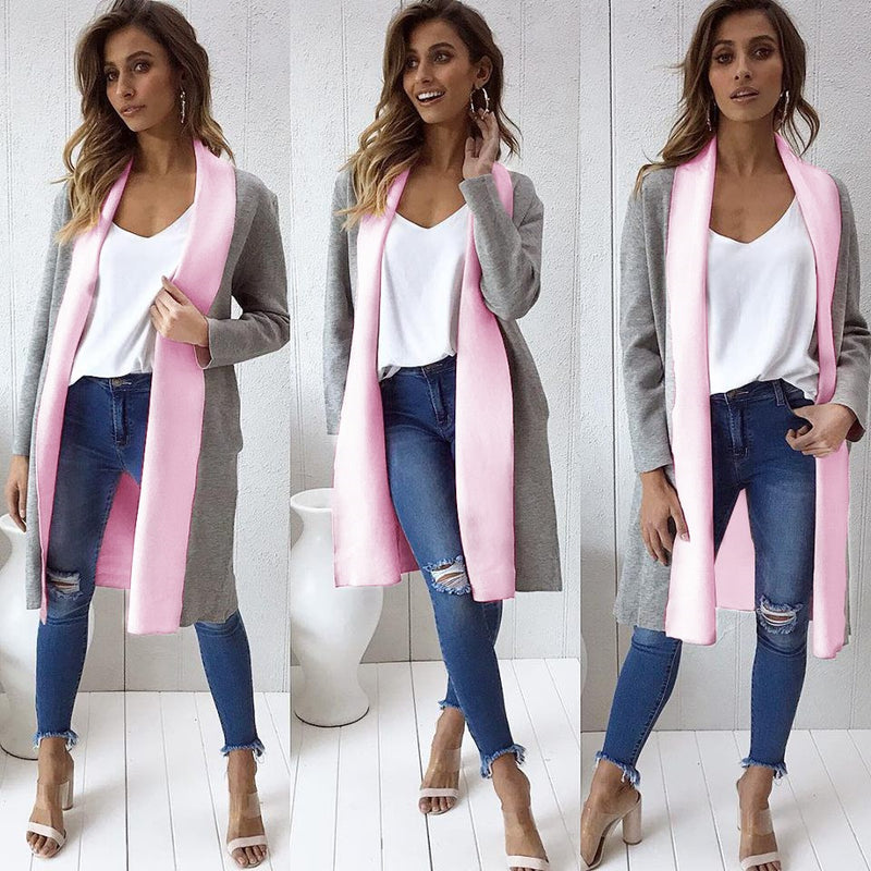 Candy Color Lapel Women Oversized Cardigan Coat