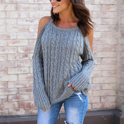 Cable Knit Scoop Bare Shoulder Women Loose Sweater
