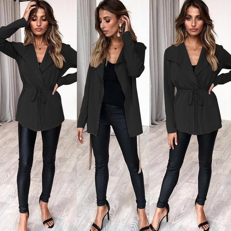 Lapel Solid Color Slim Women Knitwear Outwear Coat with Belt on