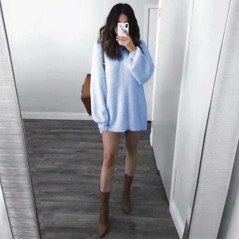 Candy Color Long Lantern Sleeves Loose Long Women Pullover Sweaters