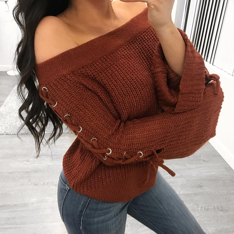 Straps Bandage Off the Shoulder Long Trumpet Sleeves Women Pullover Sweater