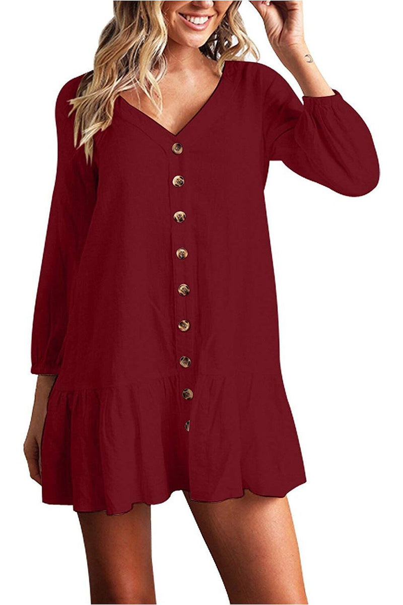 V-neck 9/10 Sleeves Buttons Solid Color Women Short Dress