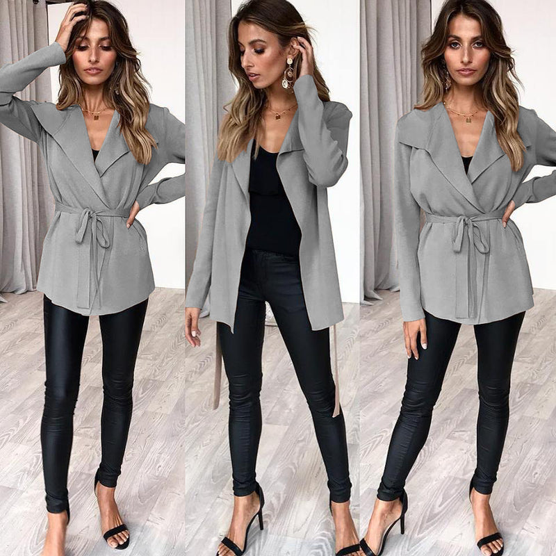 Lapel V-neck Solid Color Women Belt Cardigan