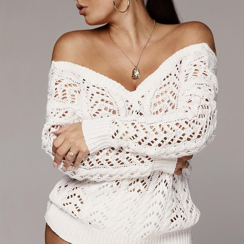 Off the Shoulder Hollow Out Wrap Women Cropped Wrap Sweater
